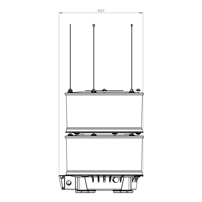 Orga Offshore – Datasheet Drawing – LED Marine Light – L410EX-W-15N – r04 (Side)