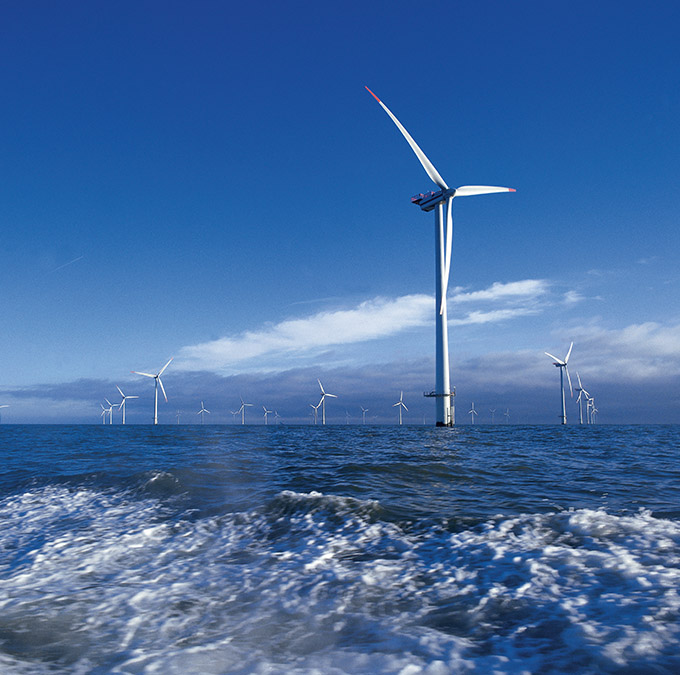 offshore windfarm from boat