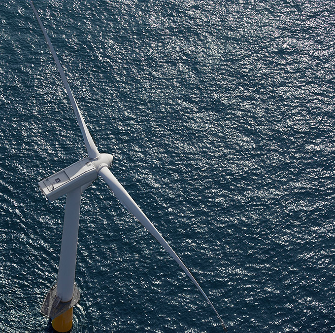 offshore windturbine from above